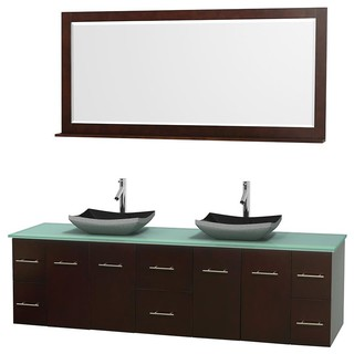 80 In Double Bathroom Vanity In Espresso Green Glass Countertop Altair Bla