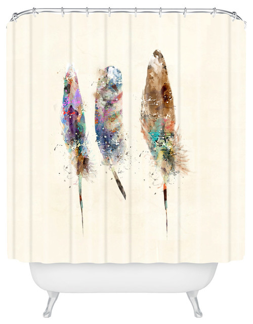 Deny Designs Brian Buckley Free Feathers Shower Curtain Contemporary Shower Curtains By