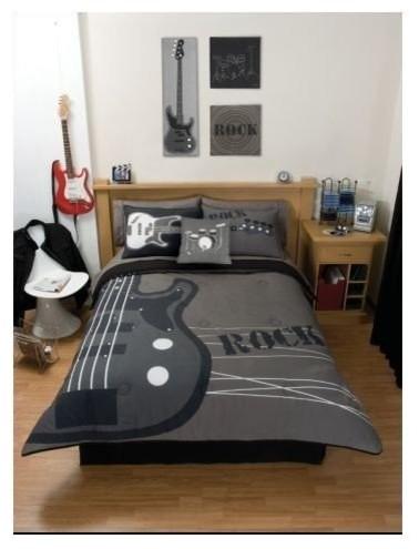 Gray Rock Guitar Comforter Bedding Set Twin Eclectic