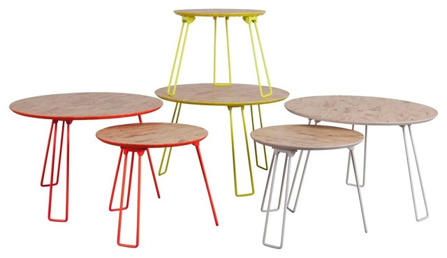 Table basse m tal fluo osb large couleur blanc - Table d appoint scandinave metal ...