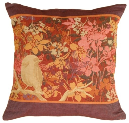 Decorative Pillows With Bird Design : Pillow Decor - Chickadee Garden Bird Pillow - Contemporary - Decorative Pillows - by Pillow ...