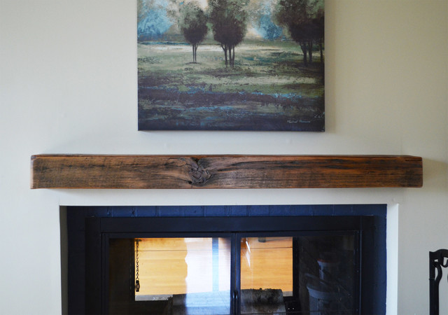 Reclaimed Lumber Floating Shelves Rustic Fireplace Mantels Chicago By Abodeacious