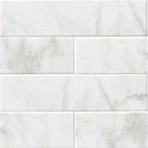 Ceramic Carrara Subway Backsplash Tile Glossy White
