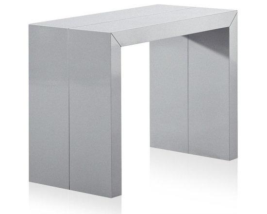 inside 75 console extensible illusion laqu gris argent brillant gain de place et. Black Bedroom Furniture Sets. Home Design Ideas