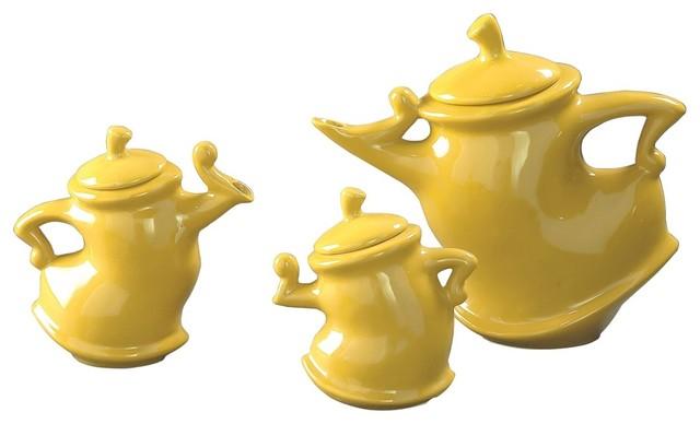 Whimsical Ceramic Tea Pots, Set of 3 - Contemporary