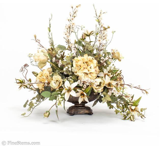 Cream Silk Floral Arrangement Traditional Artificial