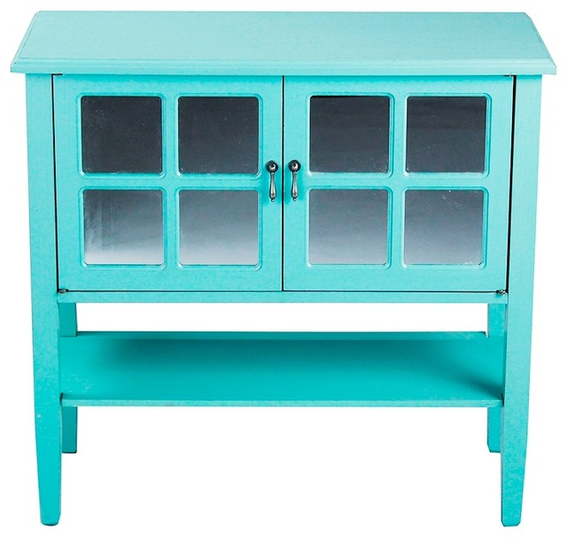 2-Door Console Cabinet With Mirror Insert and Bottom Shelf ...