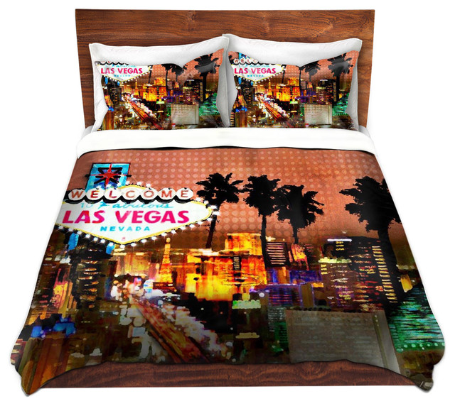 dianoche duvet covers twill by corina bakke las vegas skyline contemporary duvet covers. Black Bedroom Furniture Sets. Home Design Ideas