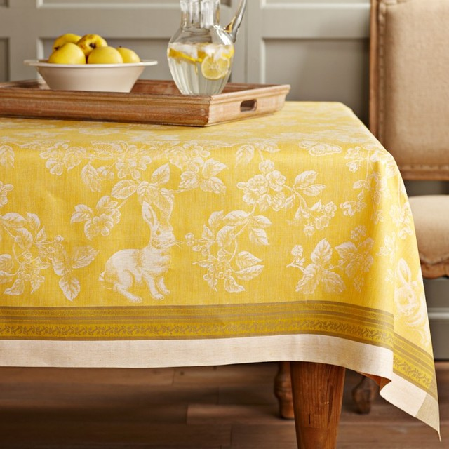 Easter Bunny Jacquard Tablecloth Contemporary Holiday