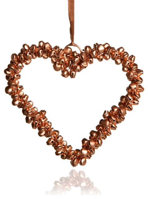 Copper effect heart shape bells tree decoration for B q christmas decorations