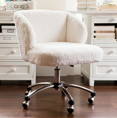 Sherpa Wingback Desk Chair Ivory fice Chairs by PBteen