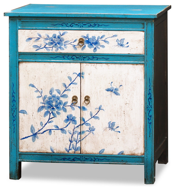 Hand-Painted Tibetan Floral Motif Cabinet - Asian - Furniture - by China Furniture and Arts