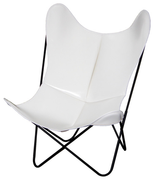 fauteuil aa butterfly cuir blanc moderne chaise pliante de jardin other metro par aa new. Black Bedroom Furniture Sets. Home Design Ideas