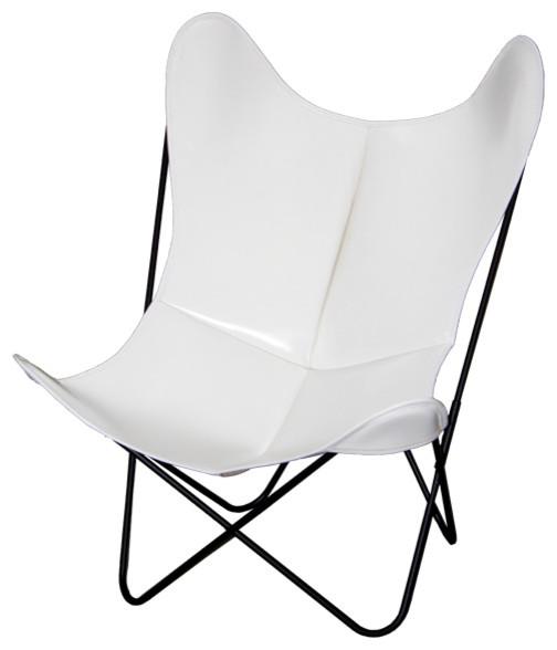 Fauteuil aa butterfly cuir blanc moderne fauteuil de for Fauteuil de jardin blanc