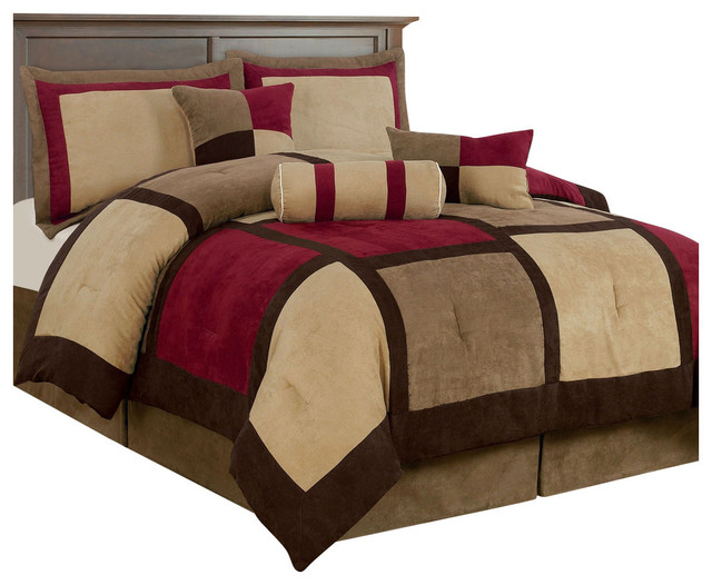 King Size 7-Piece Bed Bag Patchwork Comforter Set In Brown