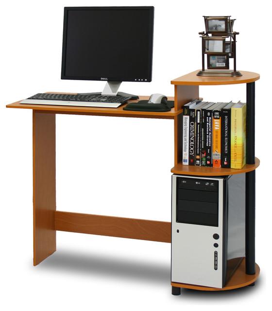 Furinno 11181lc bk compact computer desk contemporain for Meuble bureau compact
