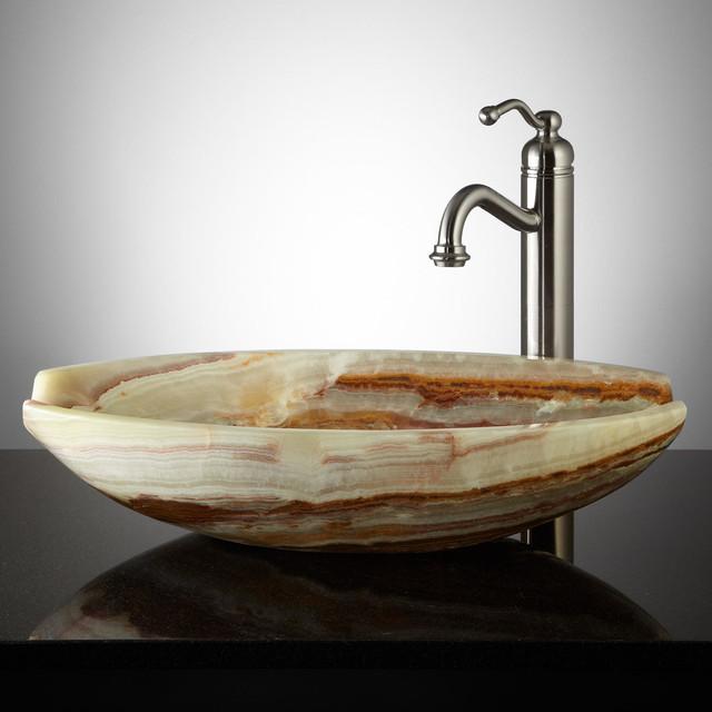 Hamza green onyx vessel sink contemporary bathroom sinks for Onyx vessel sinks