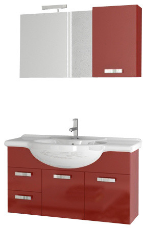 39 Inch Glossy Red Bathroom Vanity Set Contemporary Bathroom Vanities And