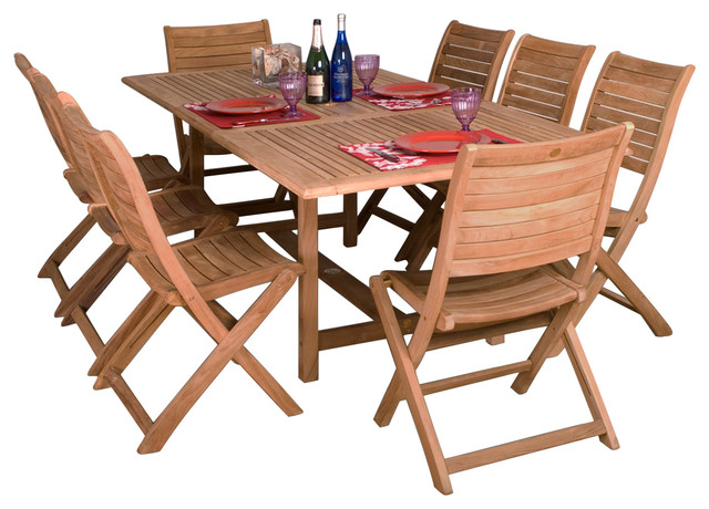 Contemporary Patio Dining Set Furniture Teak And Metal Table