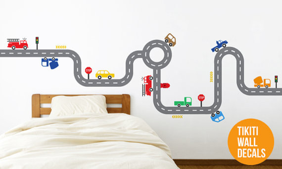 Fire Trucks Car Track Wall Decal for your Baby Boy's Room contemporary-kids-wall