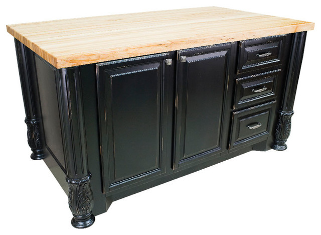 Houston Kitchen Island Cabinet Distressed Black