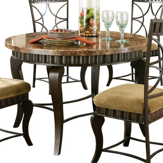 Steve silver hamlyn round dining table with marble top and for Traditional dining table bases