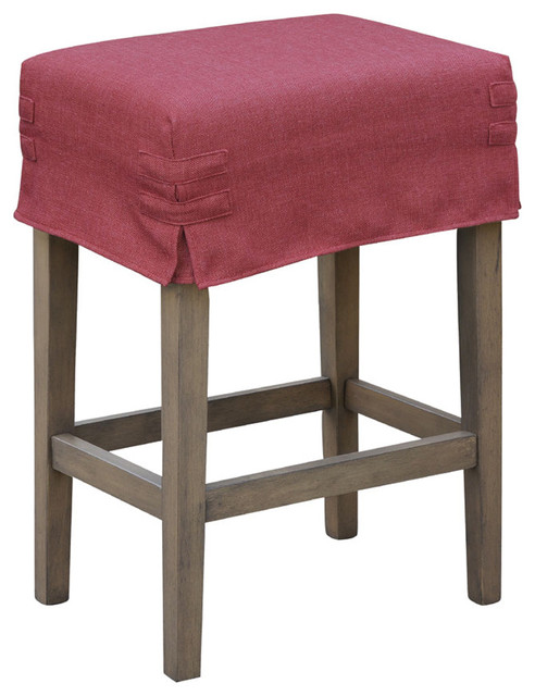 24 Quot Saddle Stool With Slipcover Contemporary Bar