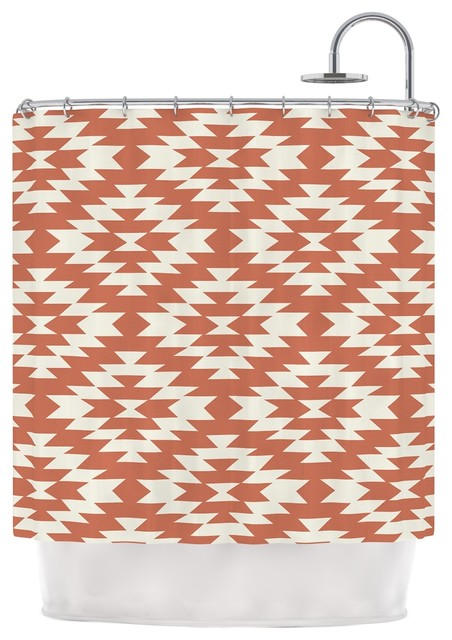 Amanda Lane Navajo Toasted Coral Red Tribal Shower Curtain Southwestern Shower Curtains