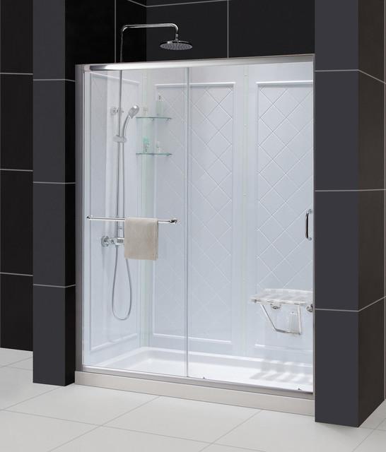 dreamline infinity z sliding shower door shower base and shower backwall kit contemporary. Black Bedroom Furniture Sets. Home Design Ideas