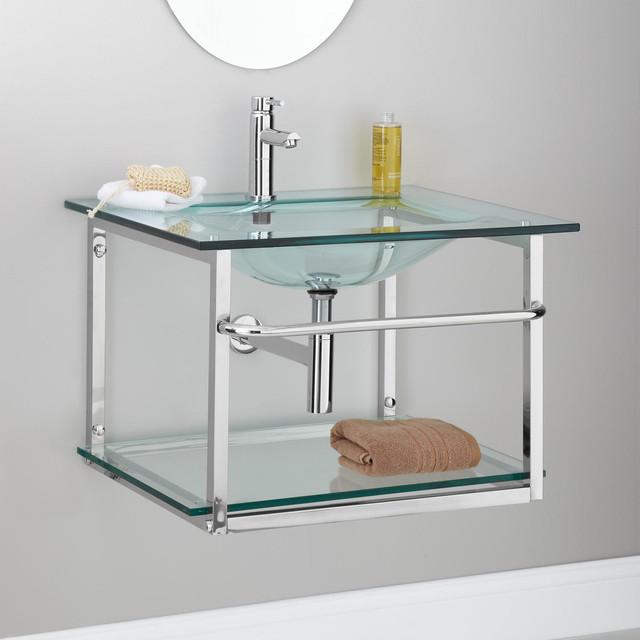 Zuri Wall-Mount Glass Sink with Towel Bar - Modern - Bathroom Sinks