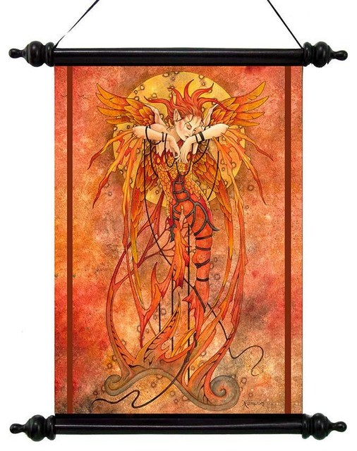Mystical Phoenix Rising Canvas Wall Scroll Tapestry Decor - Traditional - Tapestries - by ...