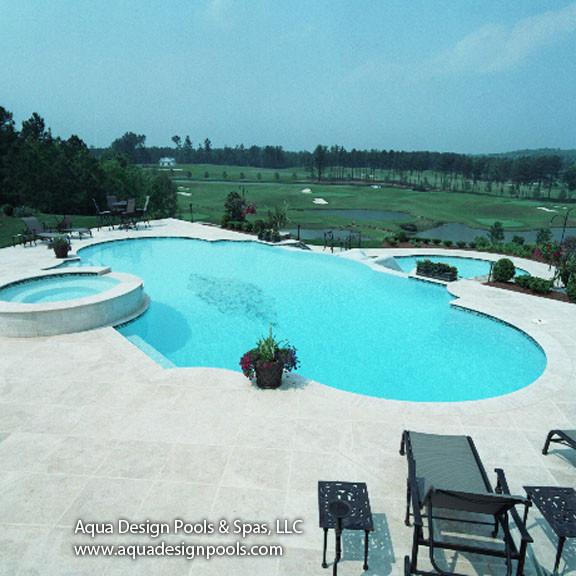 Swimming Pool Edge: Infinity Edge Pool With Raised Spa And Slide