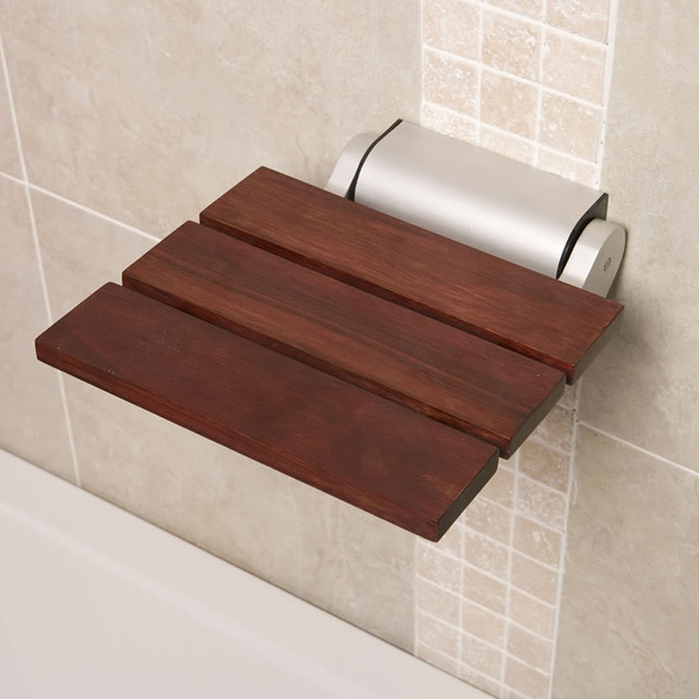 Folding Wooden Shower Bathroom Seat Sapele Finish Aluminum Hinges Contemporary Other Metro