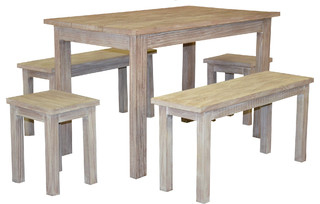 5Pc Wooden Rectangular Dining Set With Table, Benches, Stools, Distressed White