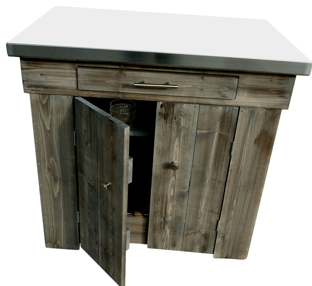 Enclosed Spruce Kitchen Island With Stainless Steel Counter, English Chestnut