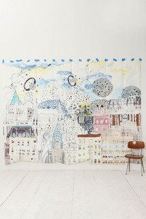 Dreamscape mural moderno obras de arte de anthropologie for Anthropologie dreamscape mural