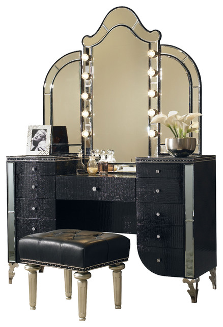 silver vanity table with mirror and bench 1
