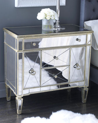 Amelie Mirrored Nightstand Traditional Nightstands And