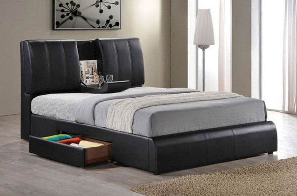 Contemporary Bedroom Set London Black By Acme Furniture: Kofi Black PU Finish Queen Bed With