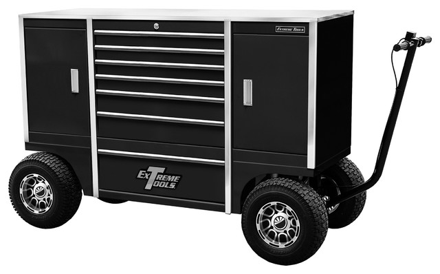 "Extreme Tools 70"" 7-Drawer and 2 Compartment Pit Box, Black - Contemporary - Garage And Tool ..."