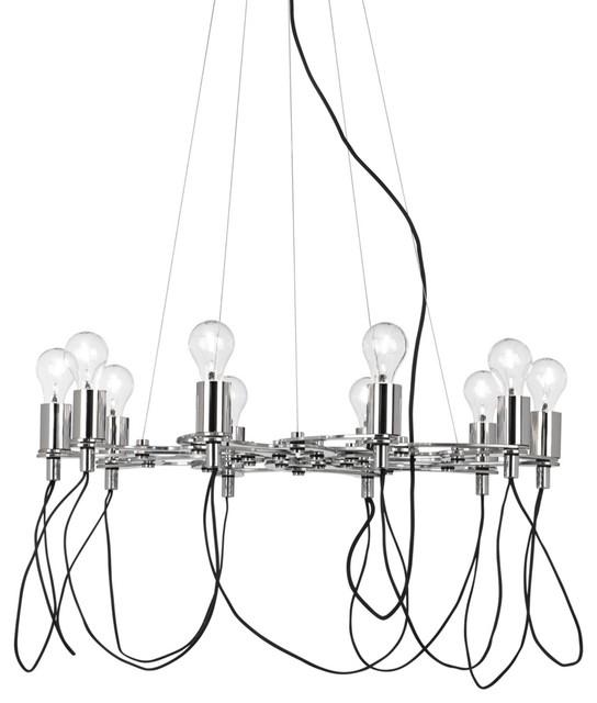 Possini Euro Chrome Light Bulb Cluster Chandelier