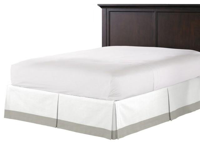 Grey Linen Bed Skirt : White and light gray linen bed skirt contemporary