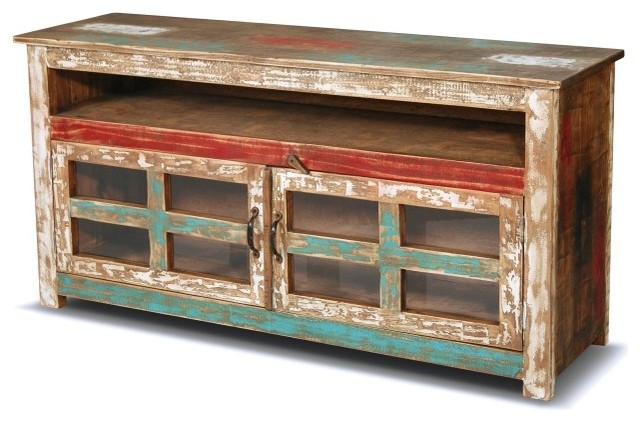 Rustic Reclaimed Solid Wood TV Console farmhouse-entertainment-centers-and-tv-stands