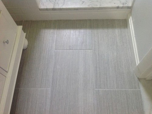 Bathroom Floor Layers : Flooring to coordinate with white subway and marble accents