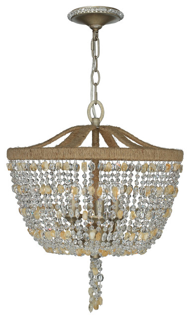 Crystorama 267 BS Eva 3 Light Chandeliers In Burnished Silver Contemporary
