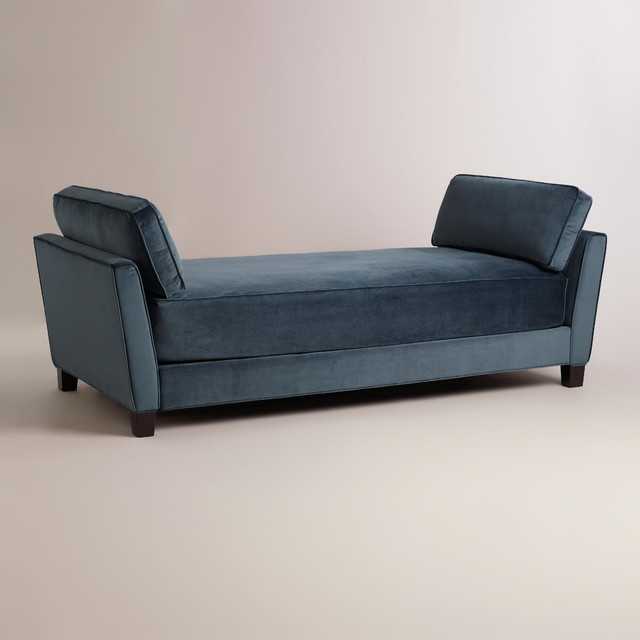 Modern Midnight Blue Velvet Lexyn Daybed Furniture