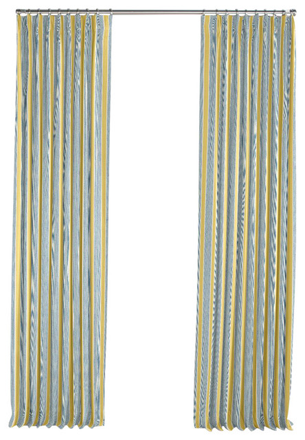 Teal And Yellow Stripe Pleated Curtain Single Panel Contemporary Curtains By Loom Decor