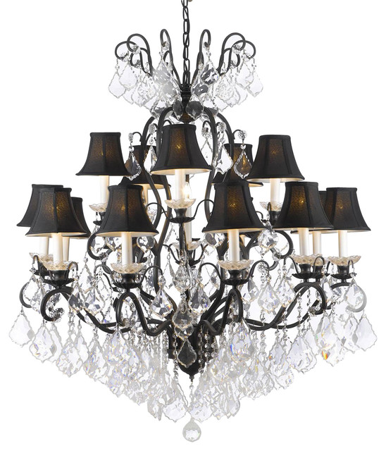 Swarovski Crystal Trimmed Wrought Iron Crystal Chandelier Traditional