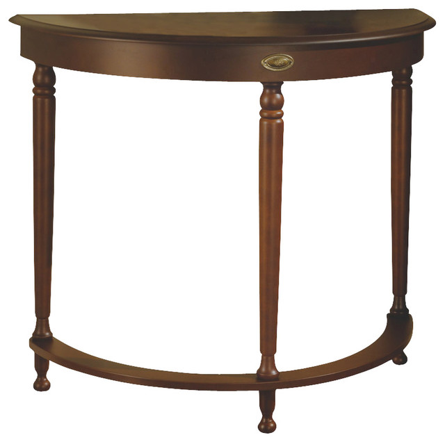 Monarch specialties 3389 half moon hall table in walnut for Half moon console table