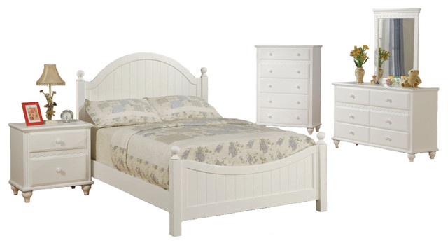 Wooden Youth Bedroom Set White Panel Headboard Twin Size 5 Pc Bedroom Set
